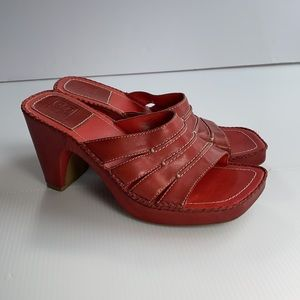 Red Leather Slip on Heeled Sandals